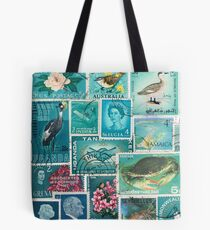 Ocean Deep - Postage Stamp Collage Tote Bag