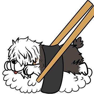 Funny Old English Sheepdog Japanese Sushi by ilovepaws