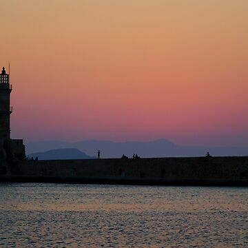 Lighthouse in the old, Venetian harbour at Chania, Crete, Greece at sunset   by PhotoStock-Isra
