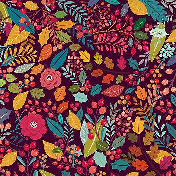 Burgundy magenta pink teal green autumn floral leaves by Kicksdesign