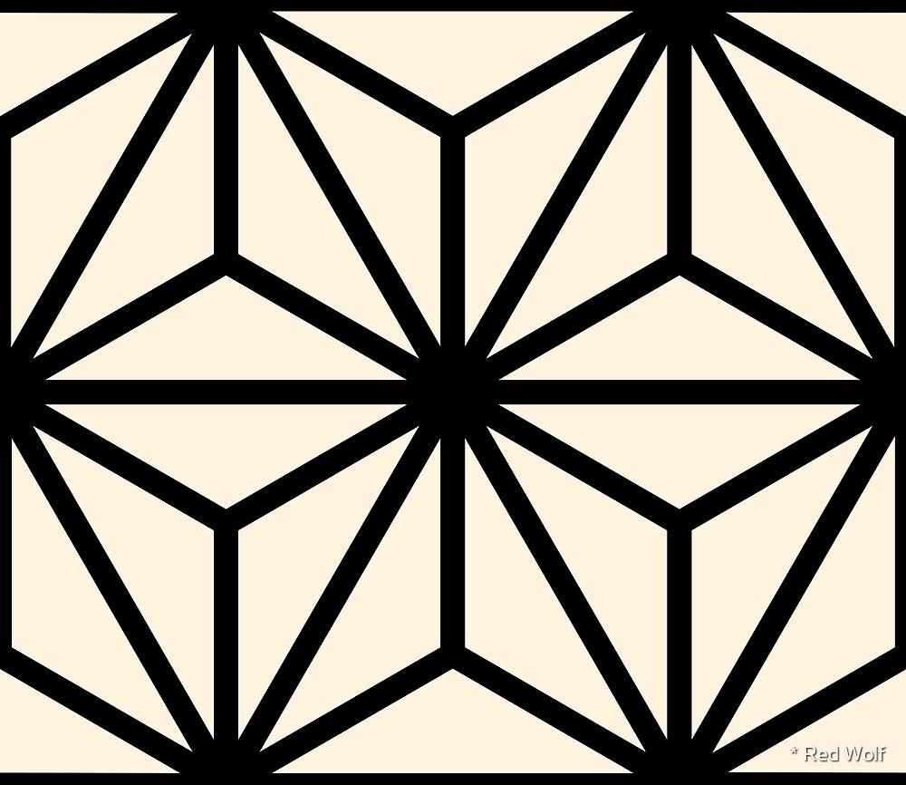 Geometric Pattern: Art Deco Star: Black/Cream by * Red Wolf