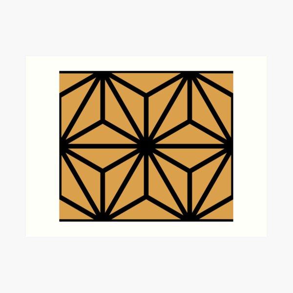 Geometric Pattern: Art Deco Star: Black/Gold Art Print