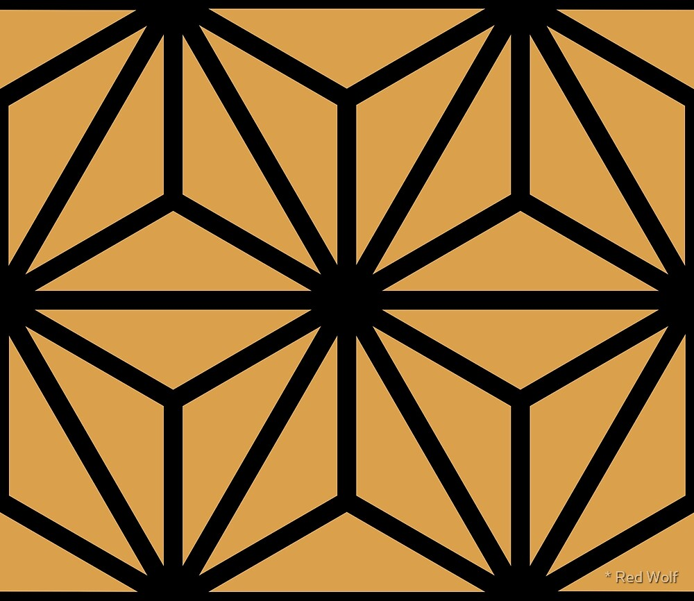 Geometric Pattern: Art Deco Star: Black/Gold by * Red Wolf