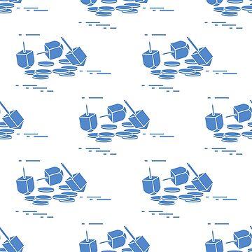 Seamless pattern with dreidel, sevivon, coins. by aquamarine-p