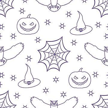 Halloween 2019 vector seamless pattern. by aquamarine-p