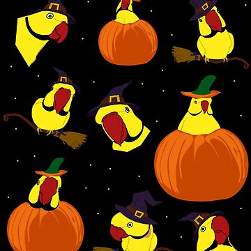yellow indian ringneck halloween pattern by FandomizedRose