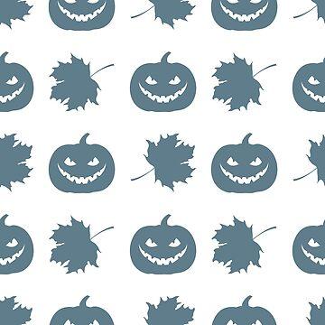 Halloween 2019 seamless pattern. Pumpkin, leaves. by aquamarine-p