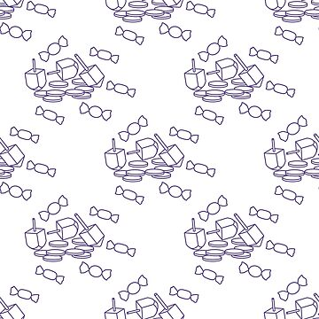 Seamless pattern with dreidel, coins, sweets. by aquamarine-p