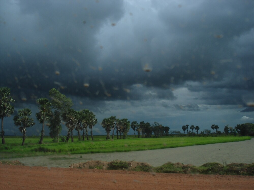 And the rain starts to fall - Battam Bang Cambodia  by BRIGHTEY84