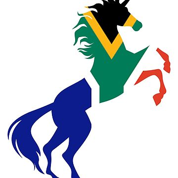 Unicorn South Africa Flag Gift by Reutmor