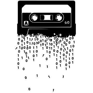 Retro cassette tape digitalization ink art by handcraftline