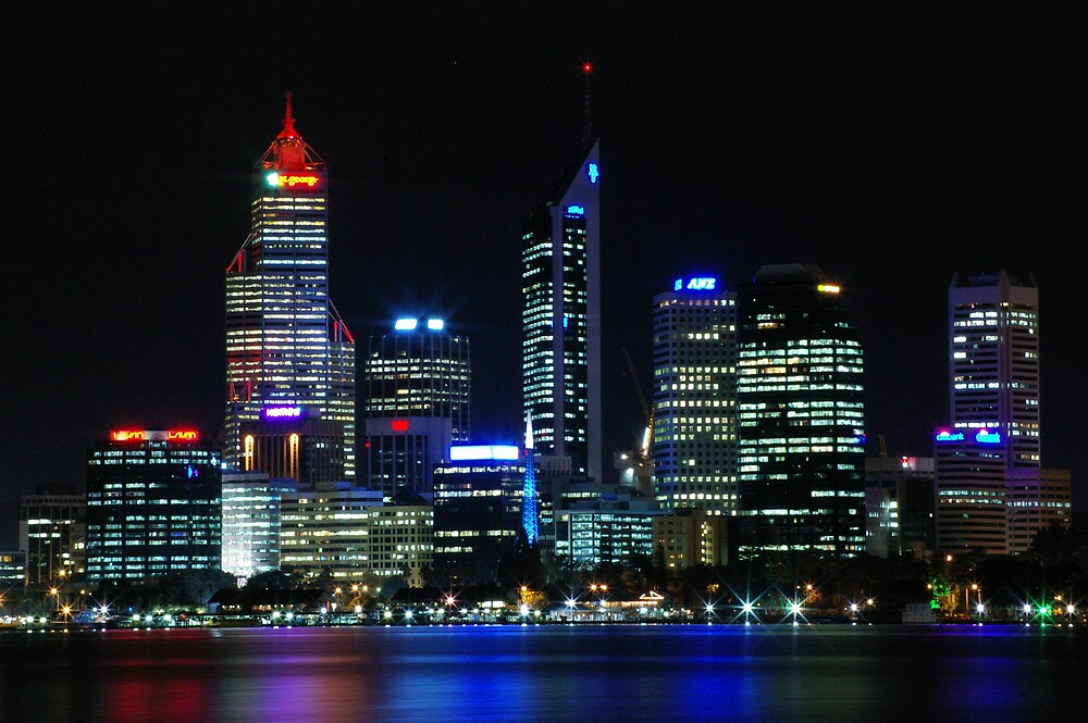 perth city at night by misspetepie