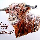 Snowy Highland Cow Christmas Card by EuniceWilkie