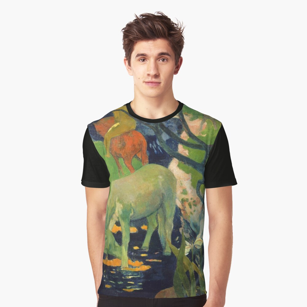 """Paul Gauguin """"The White Horse"""" Graphic T-Shirt Front"""