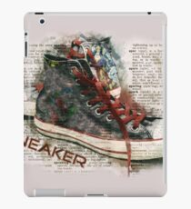 Retro Cool Hi Top Sneaker Trainers Sepia Newspaper iPad Case/Skin