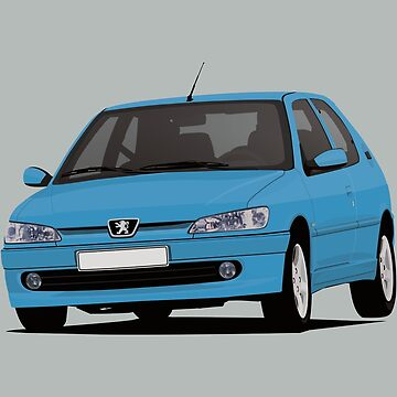 Peugeot 306 GTi-6 - illustration - turquoise-blue by knappidesign
