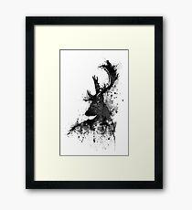 Black and White Deer Head Watercolor Silhouette Framed Print