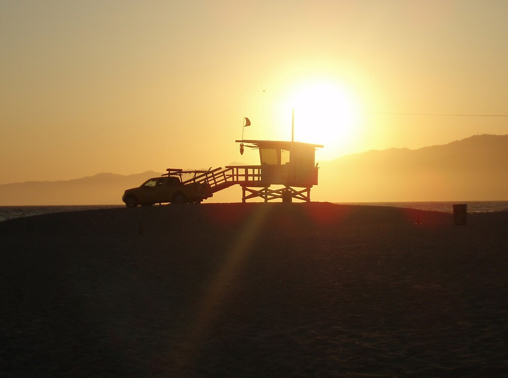 Santa Monica, Los Angeles at Sunset by Mike Paget