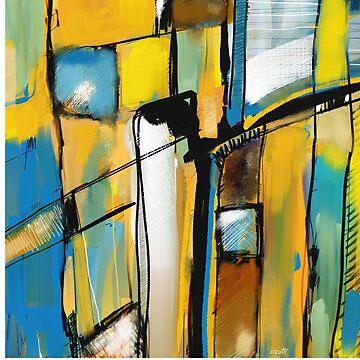 Abstraction en jaune et bleu by patricmouth