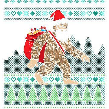 Santa Bigfoot Ugly Christmas Sweater by frittata
