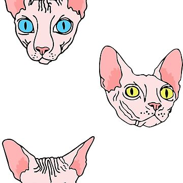 sphynx on blue stripes (naked cats) by B0red