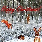 Woodland Creatures and Falling Snow Christmas Card by EuniceWilkie