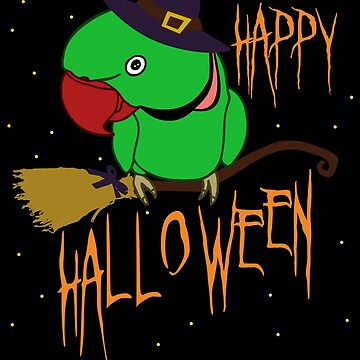 happy halloween - green indian ringneck doodle by FandomizedRose