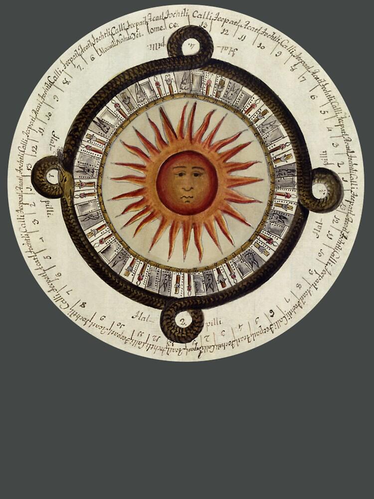 Aztec Sun Calendar, 1792  by TOMSREDBUBBLE