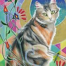 Calico Cat and Dragonflies by chromaddict