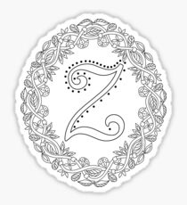 Letter Z Black And White Wreath Monogram Initial Sticker