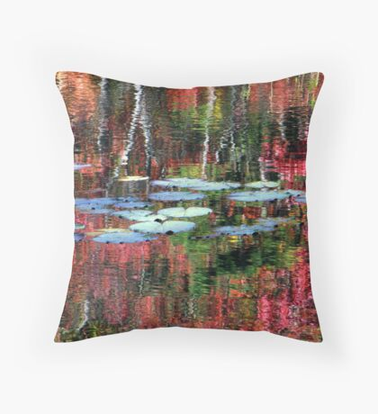 Lily Pads On Autumn Waters Throw Pillow