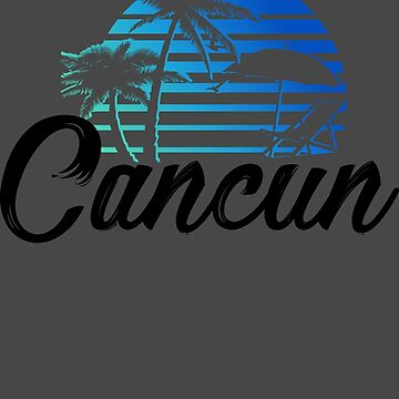 Cancun Mexico Beach Palm Tree Design Party Destination Gift by NBRetail