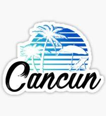 Cancun Mexico Beach Palm Tree Design Party Destination Gift Sticker