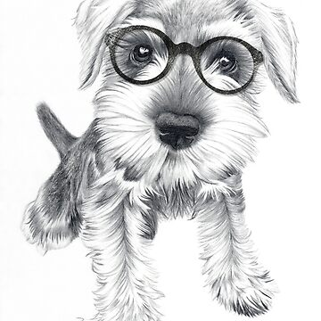 Nerdy Schnozz the Schnauzer by beththompsonart