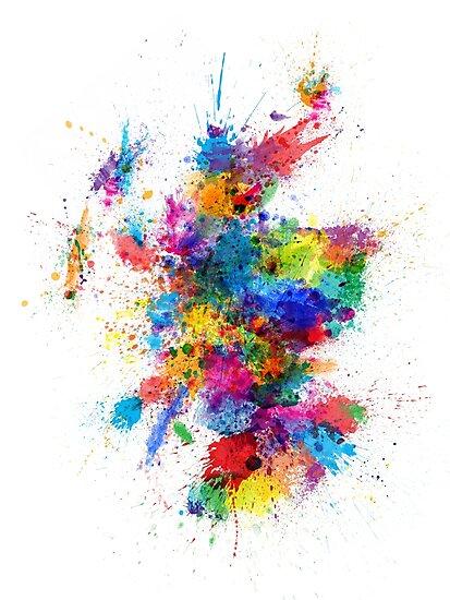 Scotland Paint Splashes Map by Michael Tompsett