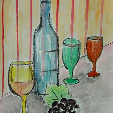 Wine Bottles with Grapes by ditempli