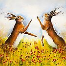 BOXING HARES IN THE POPPIES by Carrie McKenzie