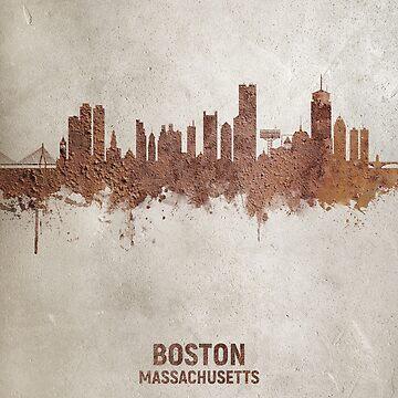 Boston Massachusetts Rust Skyline by ArtPrints