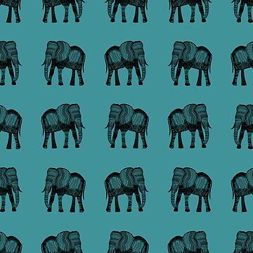 Elephants 001 - Black on Harbour Green by ColourPortal101