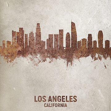 Los Angeles California Rust Skyline by ArtPrints