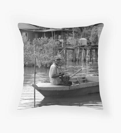 Malaysia: Fisherman in his boat Throw Pillow