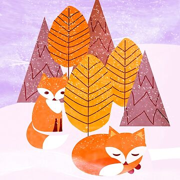 Winter Foxes #rbcardchallenge @redbubble by mirimo