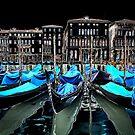 Gondolas in Venice by ansaharju