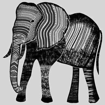 Elephant 002 - Black on Frost Grey by ColourPortal101