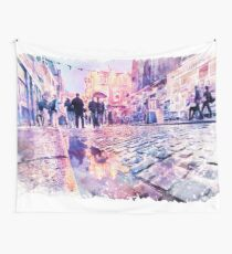 Dublin Watercolor Streetscape Wall Tapestry