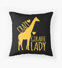 CRAZY Giraffe Lady  Throw Pillow