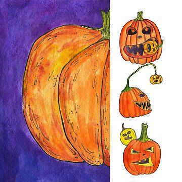 Pumpkin on violet background. Lots of Jack-o-lanterns. Halloween. by rusmashart