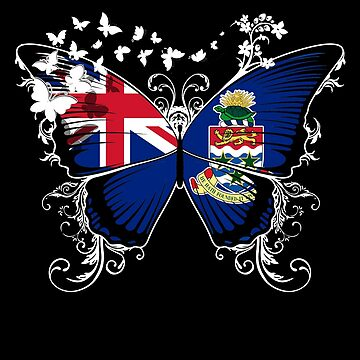 Cayman Islands Flag Butterfly Caymanian National Flag DNA Heritage Roots Gift  by nikolayjs