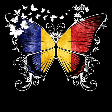 Chad Flag Butterfly Chadian National Flag DNA Heritage Roots Gift  by nikolayjs