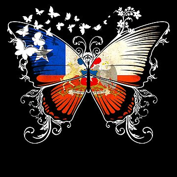 Chile Flag Butterfly Chilean National Flag DNA Heritage Roots Gift  by nikolayjs